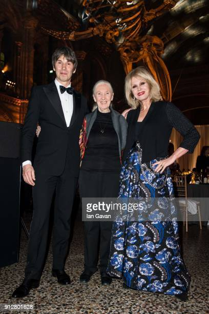 Cohost Professor Brian Cox Keynote speaker Dr Jane Goodall and co host Joanna Lumley pose for a photograph during the National Geographic 'An Evening...