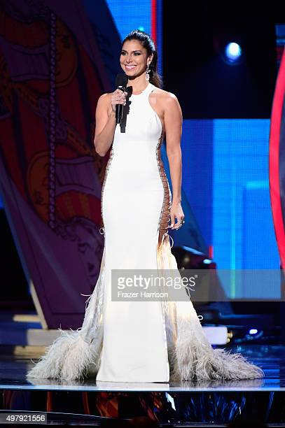 Cohost Roselyn Sanchez speaks onstage during the 16th Latin GRAMMY Awards at the MGM Grand Garden Arena on November 19 2015 in Las Vegas Nevada