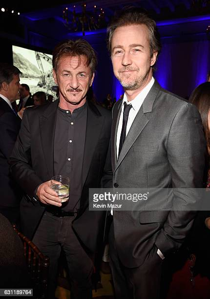 Cohost Sean Penn and actor Edward Norton attend the 6th Annual Sean Penn Friends HAITI RISING Gala Benefiting J/P Haitian Relief Organizationat...