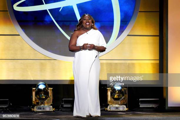 Cohost Sheryl Underwood speaks onstage during the 45th annual Daytime Emmy Awards at Pasadena Civic Auditorium on April 29 2018 in Pasadena California