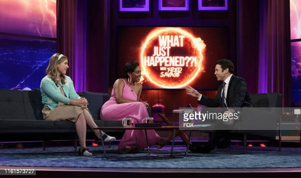 Cohost Taylor Tomlinson guest star Tiffany Haddish and host Fred Savage in the Parents episode of WHAT JUST HAPPENED WITH FRED SAVAGE airing Sunday...