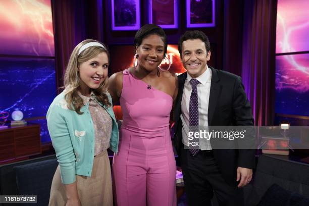 Cohost Taylor Tomlinson guest star Tiffany Haddish and host Fred Savage behind the scenes in the Parents episode of WHAT JUST HAPPENED WITH FRED...