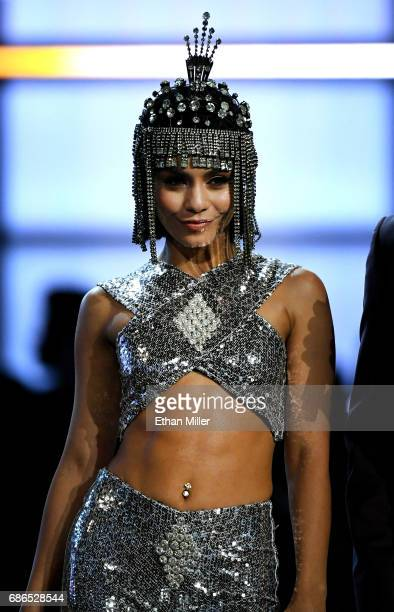 Cohost Vanessa Hudgens speaks onstage during the 2017 Billboard Music Awards at TMobile Arena on May 21 2017 in Las Vegas Nevada