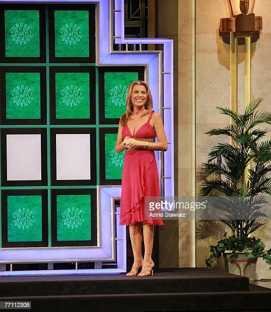 Cohost Vanna White greets the contestants during a taping of 'Wheel Of Fortune Celebrity Week' celebrating the television game show's 25th...