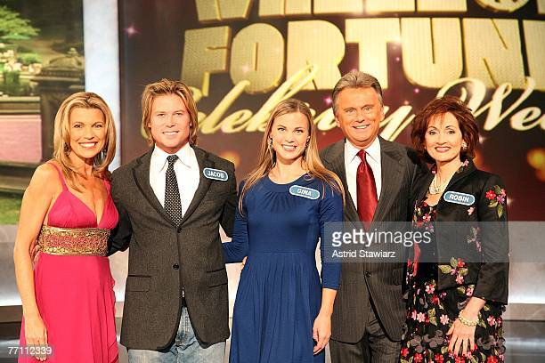Cohost Vanna White Jacob Young Gina Tognoni host Pat Sajak and Robin Strasser pose for photos during a taping of 'Wheel Of Fortune Celebrity Week'...