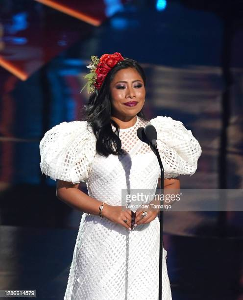 Co-host Yalitza Aparicio speaks onstage during The 21st Annual Latin GRAMMY Awards at American Airlines Arena on November 19, 2020 in Miami, Florida.