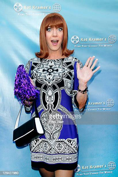"""Co-host/entertainer Coco Peru arrives at Kat Kramer's Films That Change The World, """"Teach Your Children Well"""" Premiere at Sunset Gower Studios on..."""