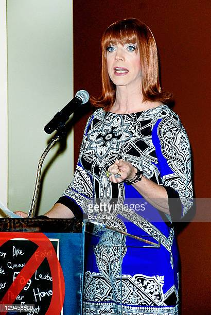 """Co-host/entertainer Coco Peru speaks at Kat Kramer's Films That Change The World, """"Teach Your Children Well"""" Premiere at Sunset Gower Studios on..."""
