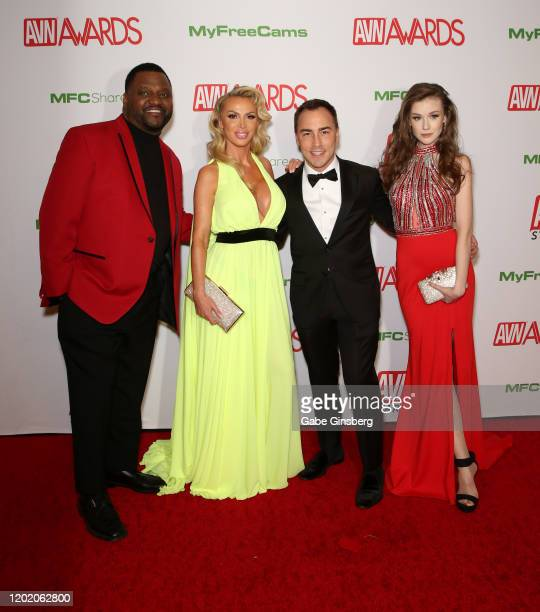 Co-hosts actor/comedian Aries Spears, adult film actress Nikki Benz, AVN Media Network CEO Tony Rios and co-host webcam model Emily Bloom attend the...