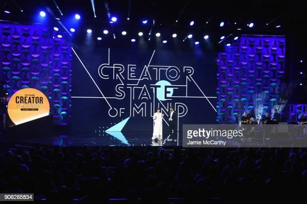 Cohosts Adi Neumann and Justin Baldoni appear on stage as WeWork presents Creator Awards Global Finals at the Theater At Madison Square Garden on...