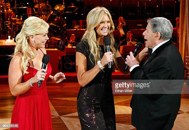 Cohosts Alison Sweeney and Nancy O'Dell and entertainer Jerry Lewis talk during the 44th annual Labor Day Telethon to benefit the Muscular Dystrophy...