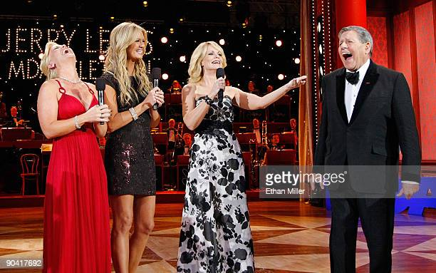Cohosts Alison Sweeney Nancy O'Dell and Jann Carl share a laugh with entertainer Jerry Lewis during the 44th annual Labor Day Telethon to benefit the...
