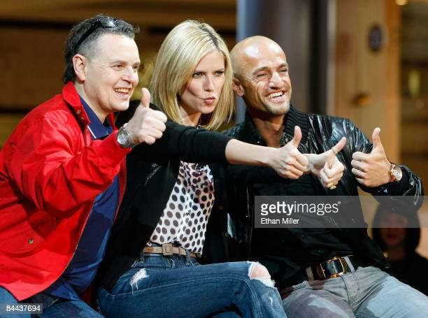 Cohosts and judges of Germany's Next Topmodel Rolf Scheider model Heidi Klum and Peyman Amin joke around during a taping of the television show at...