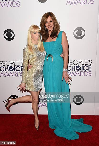 Cohosts Anna Faris and Allison Janney poses in the press room at The 41st Annual People's Choice Awards at Nokia Theatre LA Live on January 7 2015 in...