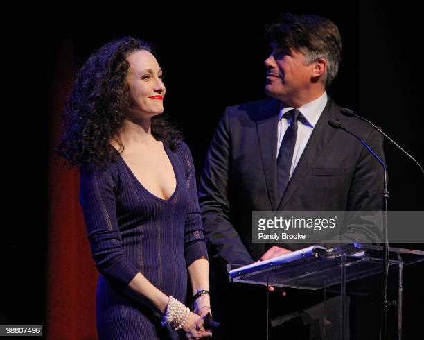 CoHosts Bebe Neuwirth and Bryan Batt attends the 2010 Lucille Lortel Awards at Terminal 5 on May 2 2010 in New York City