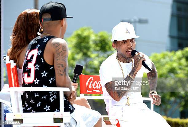 Cohosts Bow Wow and Keshia Chante and rapper Kid Ink speak onstage at 106 Park Live Presented By Coca Cola during the 2014 BET Experience at LA LIVE...