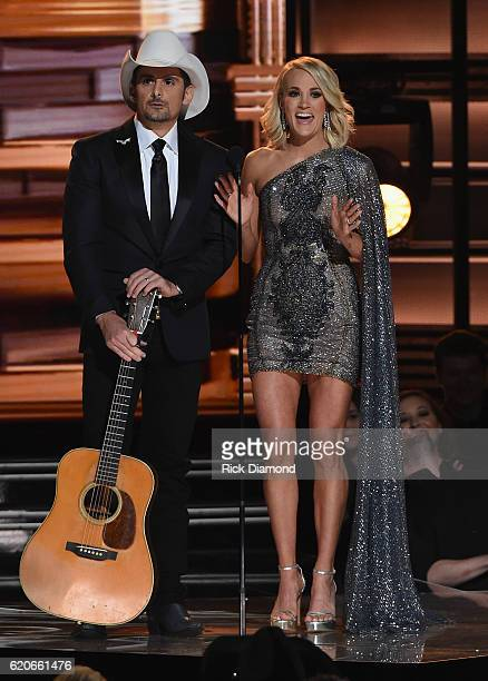 Cohosts Brad Paisley and Carrie Underwood perform onstage at the 50th annual CMA Awards at the Bridgestone Arena on November 2 2016 in Nashville...