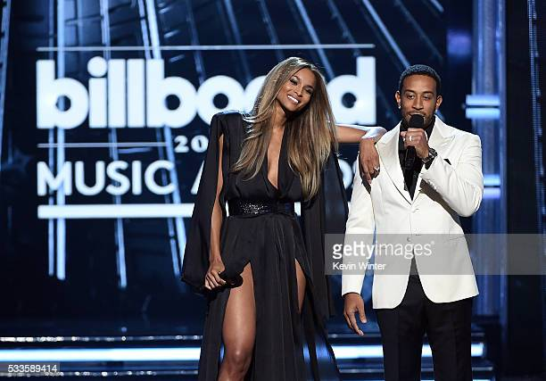Cohosts Ciara and Ludacris speak onstage during the 2016 Billboard Music Awards at TMobile Arena on May 22 2016 in Las Vegas Nevada