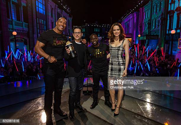 Cohosts Dwayne Johnson and Kevin Hart present the award for Movie of the Year for 'Star Wars The Force Awakens' to director/producer JJ Abrams and...