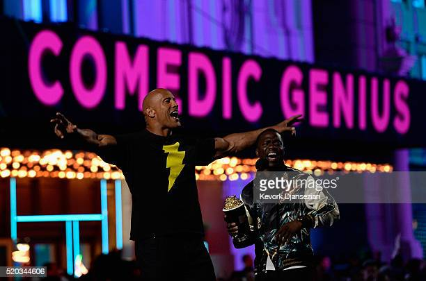 Cohosts Dwayne Johnson and Kevin Hart speak onstage during the 2016 MTV Movie Awards at Warner Bros Studios on April 9 2016 in Burbank California MTV...