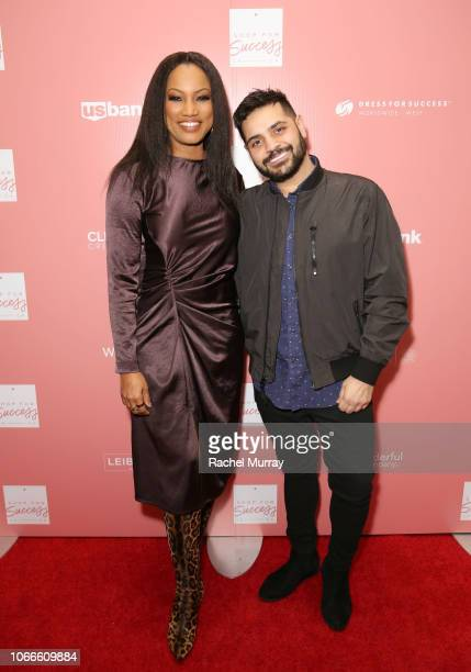 CoHosts Garcelle Beauvais and Michael Costello arrive at Shop for Success Dress for Success West Coast fundraiser on November 29 2018 in Los Angeles...