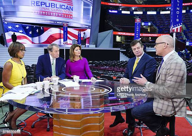 CoHosts Gayle King Charlie Rose and Norah O'Donnell interview Trump Campaign Chairman Paul Manafort and Bloomberg's John Heinemann at the 2016...