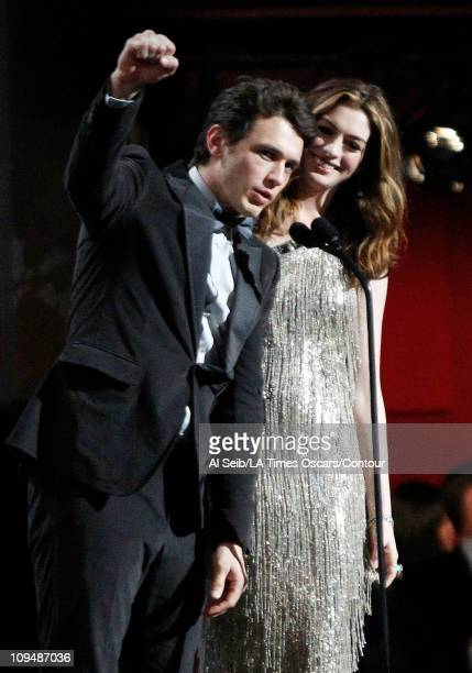 CoHosts James Franco and Anne Hathaway speak onstage at the 83rd Annual Academy Awards held at the Kodak Theatre on February 27 2011 in Hollywood...