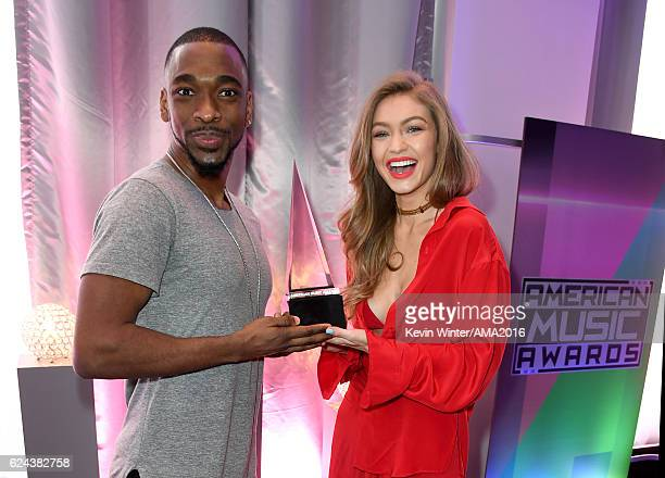 Cohosts Jay Pharoah and Gigi Hadid attend rehearsals for the 2016 American Music Awards at Microsoft Theater on November 19 2016 in Los Angeles...