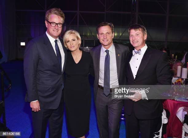 Cohosts Joe Scarborough Mika Brzezinski Tony Goldwyn and Jonathan Bush Jr attend the 2017 Americares Airlift Benefit at Westchester County Airport on...