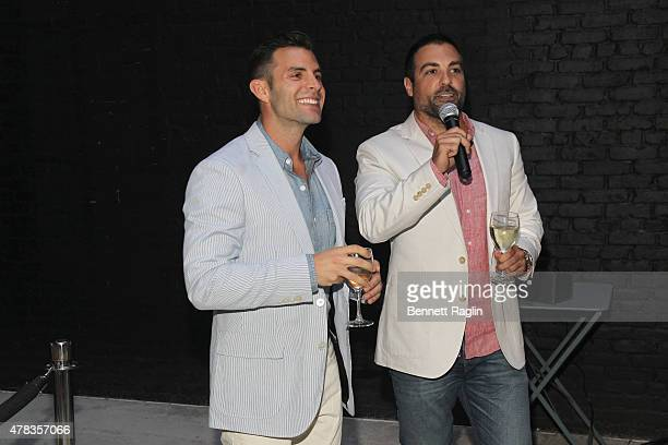 Cohosts John Colaneri and Anthony Carrino speak to guests at the America's Most Desperate Kitchens Premiere Party at Carrino Provisions on June 24...