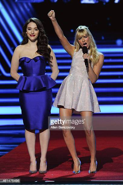 Cohosts Kat Dennings and Beth Behrs onstage at The 40th Annual People's Choice Awards show at Nokia Theatre LA Live on January 8 2014 in Los Angeles...