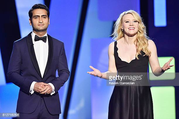 Cohosts Kumail Nanjiani and Kate McKinnon speak onstage during the 2016 Film Independent Spirit Awards on February 27 2016 in Santa Monica California