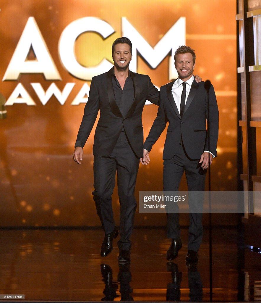 Co-hosts Luke Bryan And Dierks Bentley Speak Onstage