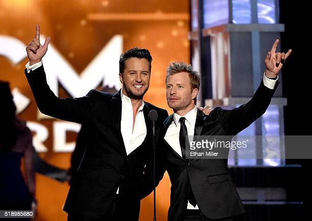 Cohosts Luke Bryan and Dierks Bentley speak onstage during the 51st Academy of Country Music Awards at MGM Grand Garden Arena on April 3 2016 in Las...