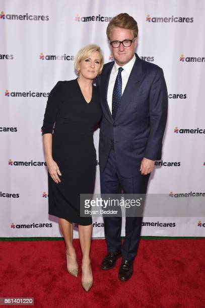 Cohosts Mika Brzezinski and Joe Scarborough attend the 2017 Americares Airlift Benefit at Westchester County Airport on October 14 2017 in Armonk New...