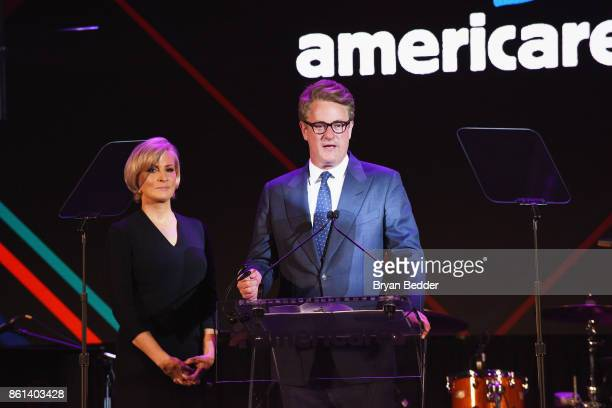 Cohosts Mika Brzezinski and Joe Scarborough speak onstage during the 2017 Americares Airlift Benefit at Westchester County Airport on October 14 2017...