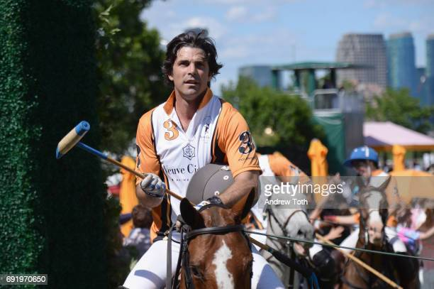 CoHosts Nacho Figueras greets guests after polo at The Tenth Annual Veuve Clicquot Polo Classi at Liberty State Park on June 3 2017 in Jersey City...