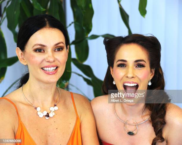"""Co-hosts Natasha Blasick and Christina DeRosa On Set of Their show """"Kittens On The Couch"""" held at Private Location on May 1, 2021 in Studio City,..."""