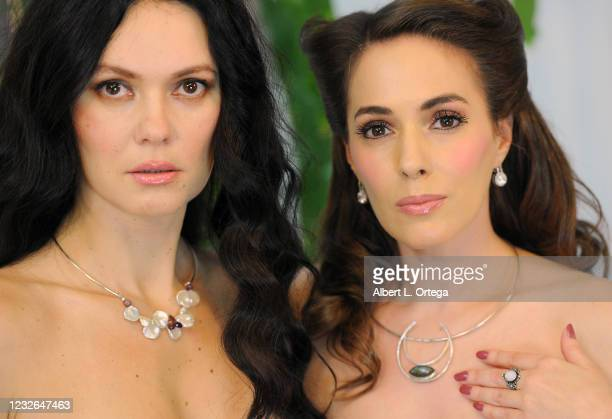 """Co-hosts Natasha Blasick and Christina On Set of Their show """"Kittens On The Couch"""" held at Private Location on May 1, 2021 in Studio City, California."""