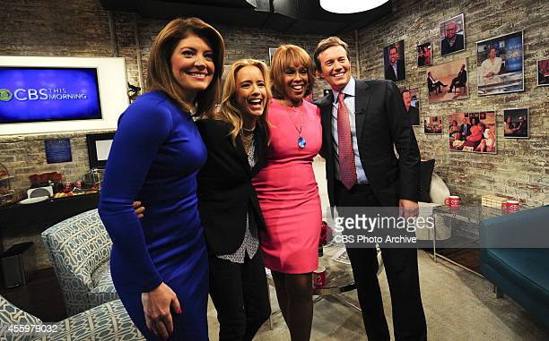 Cohosts Norah O'Donnell from left Téa Leoni star of Madam Secretary Gayle King and Jeff Glor pose for a photo booth shot in the green room on CBS...