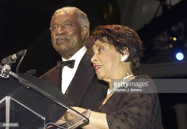 Cohosts Ossie Davis and Ruby Dee speak on stage at the Brown v Board of Education 50th Anniversary Gala on May 17 2004 in Washington DC