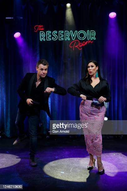 Co-hosts Roger Corser and Catherine Alcorn pose post show on June 05, 2020 in Sydney, Australia. The Reservoir Room is live-stream performances of...