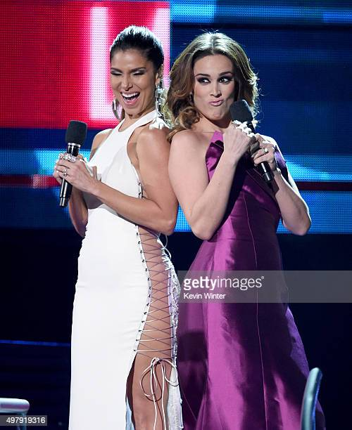 Cohosts Roselyn Sanchez and Jacqueline Bracamontes speak onstage during the 16th Latin GRAMMY Awards at the MGM Grand Garden Arena on November 19...