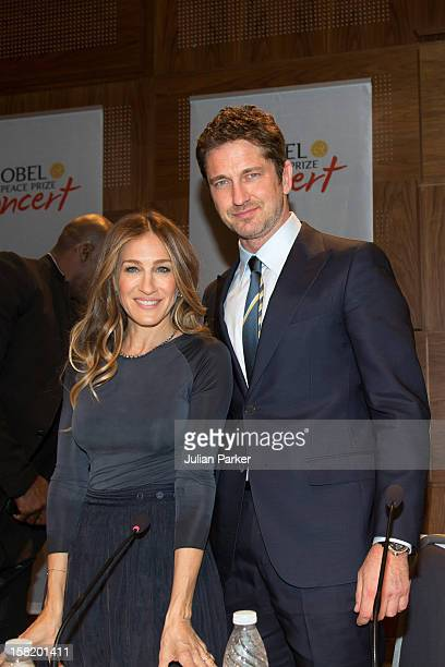 Cohosts Sarah Jessica Parker and Gerard Butler attend the press conference ahead of the Nobel Peace Prize Concert at Radisson Blu Plaza Hotel on...