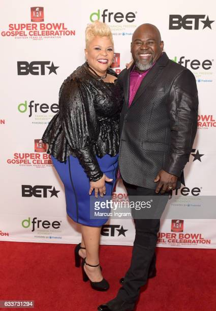 Cohosts Tamela Mann and David Mann attend the BET Presents Super Bowl Gospel Celebration at Lakewood Church on February 3 2017 in Houston Texas