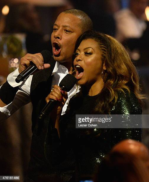 Cohosts Terrence Howard and Taraji P Henson speak onstage during Spike TV's Guys Choice 2015 at Sony Pictures Studios on June 6 2015 in Culver City...