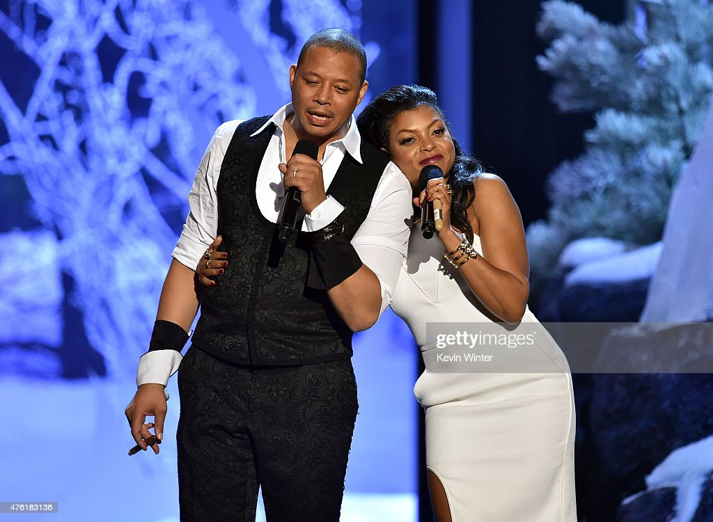 Co-hosts Terrence Howard (L) and Taraji P. Henson speak onstage during Spike TV's Guys Choice 2015 at Sony Pictures Studios on June 6, 2015 in Culver City, California.