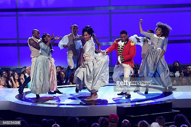 Cohosts Tracee Ellis Ross and Anthony Anderson perform onstage during the 2016 BET Awards at the Microsoft Theater on June 26 2016 in Los Angeles...