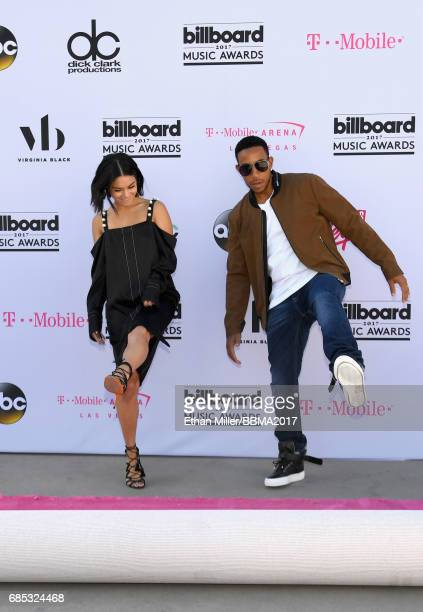 Cohosts Vanessa Hudgens and Ludacris roll out the magenta carpet for the 2017 Billboard Music Awards at TMobile Arena on May 19 2017 in Las Vegas...