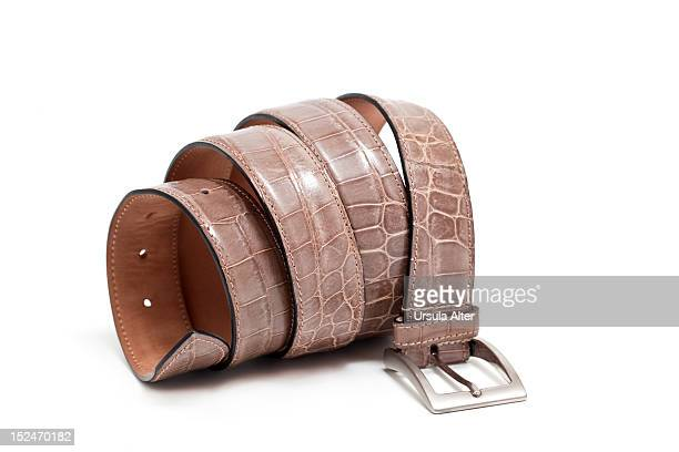 a coiled brown crocodile leather belt - reptile leather stock pictures, royalty-free photos & images